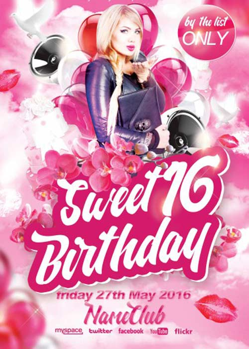Sweet 16 Birthday PSD Flyer Template