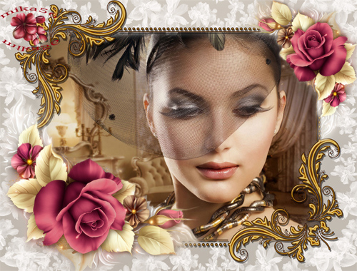 Рамка женская Пурпурные розы