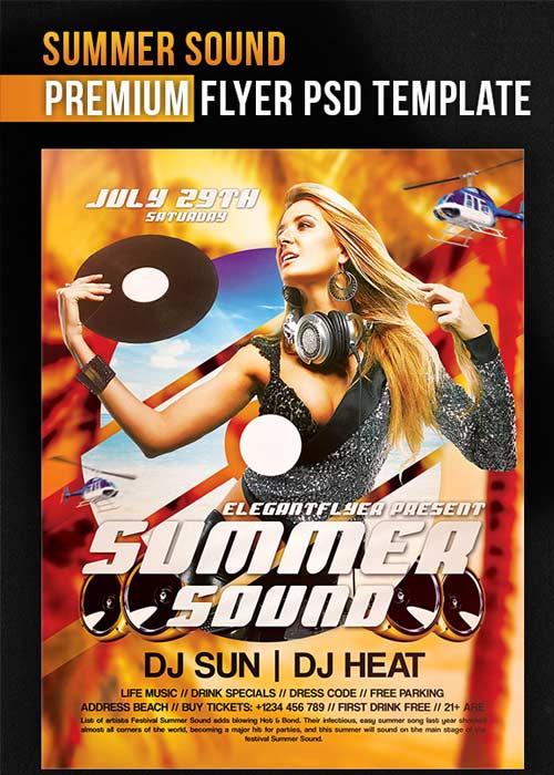 Summer Sound V1 Flyer PSD Template + Facebook Cover