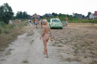 Lovely polish babe poses naked outdoors
